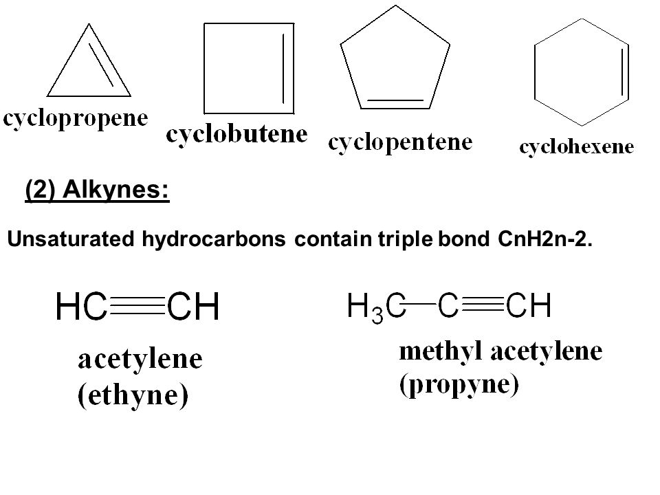(2) Alkynes: Unsaturated hydrocarbons contain triple bond CnH2n-2.