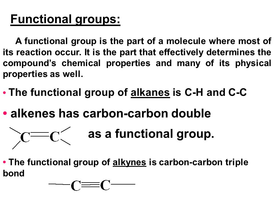 • alkenes has carbon-carbon double