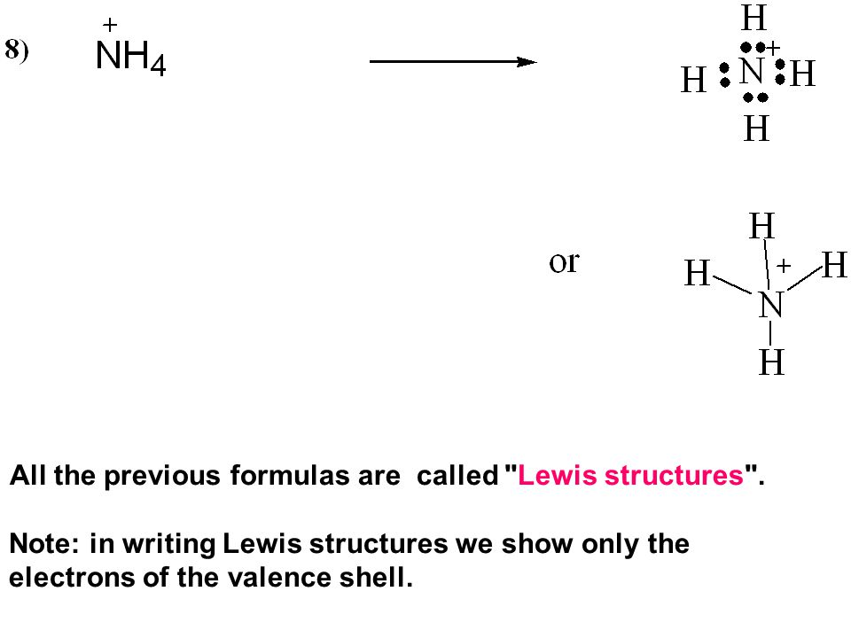 All the previous formulas are called Lewis structures .