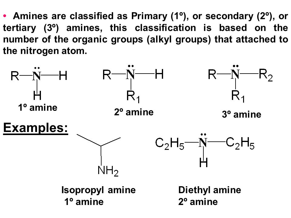 • Amines are classified as Primary (1º), or secondary (2º), or tertiary (3º) amines, this classification is based on the number of the organic groups (alkyl groups) that attached to the nitrogen atom.