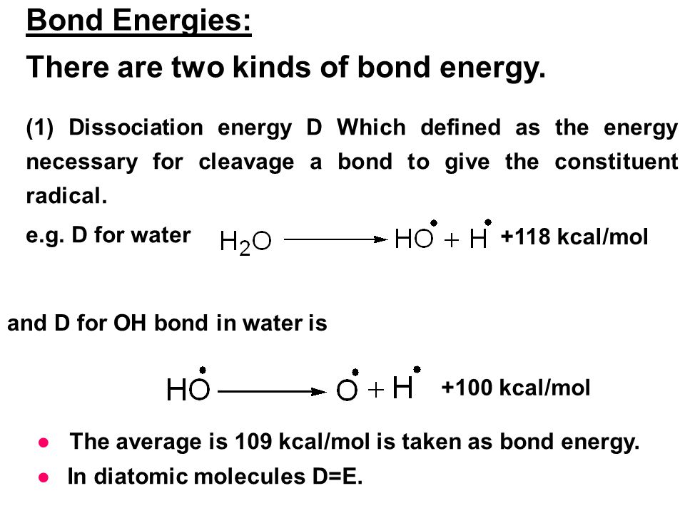 There are two kinds of bond energy.