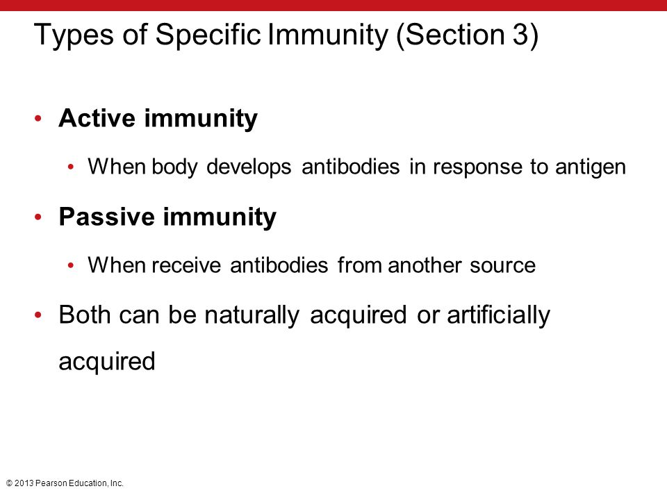 Types of Specific Immunity (Section 3)