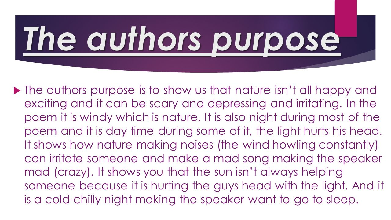 The authors purpose