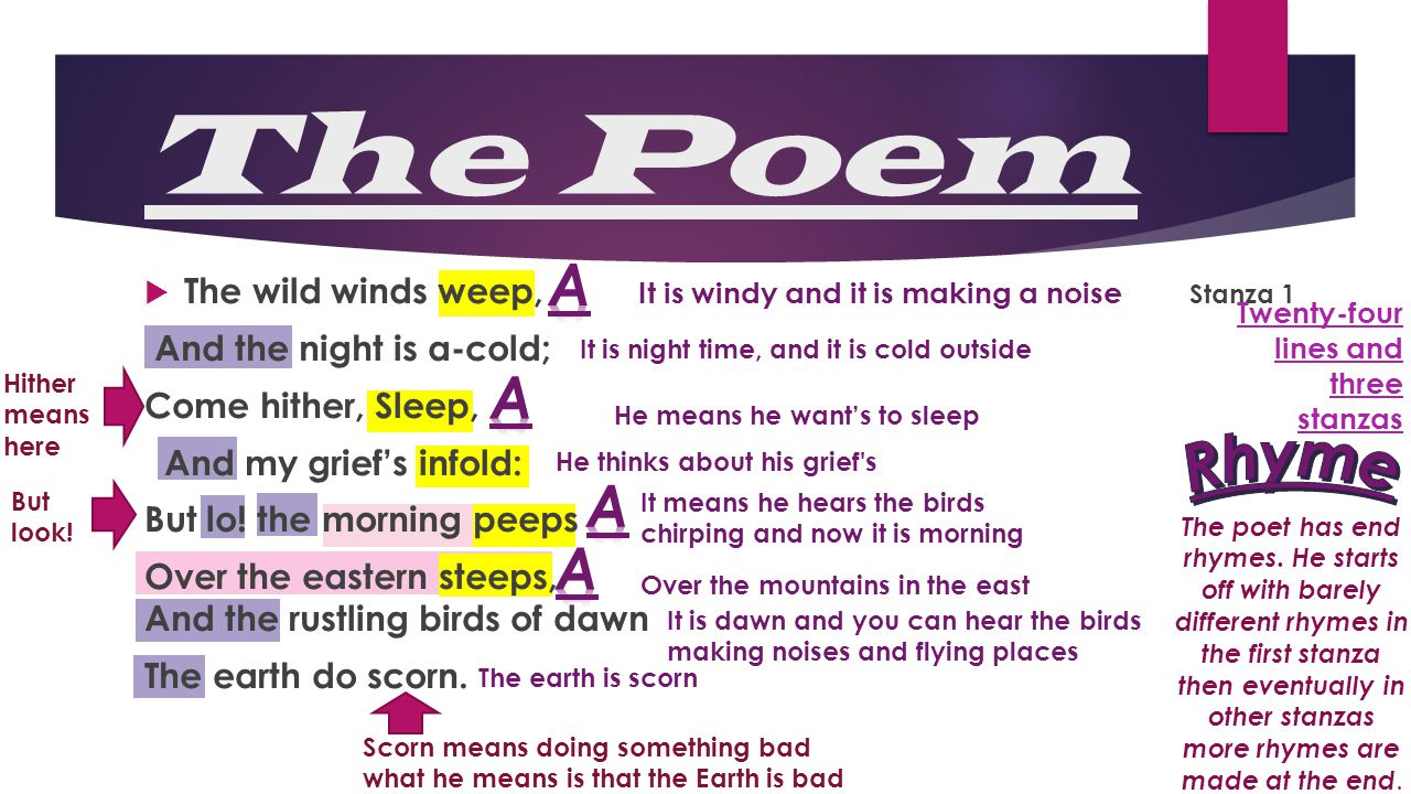 The Poem Rhyme A A A A The wild winds weep, Stanza 1