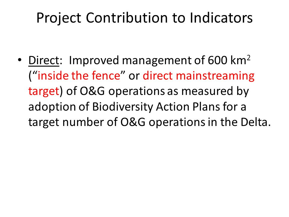 Project Contribution to Indicators