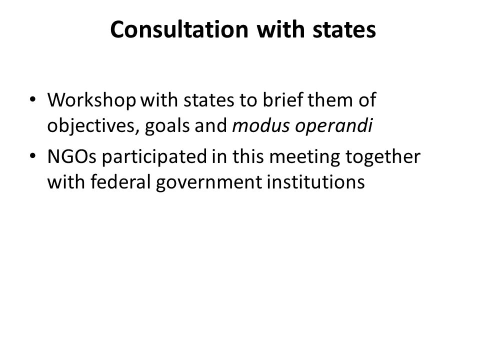 Consultation with states