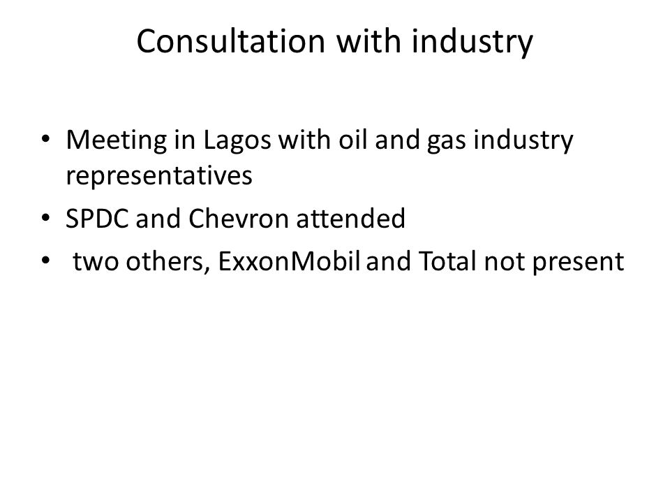 Consultation with industry