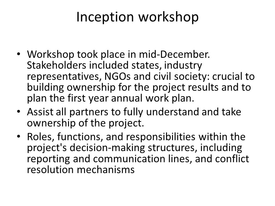 Inception workshop