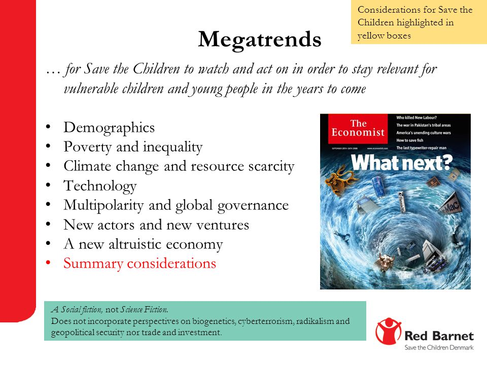 Considerations for Save the Children highlighted in yellow boxes