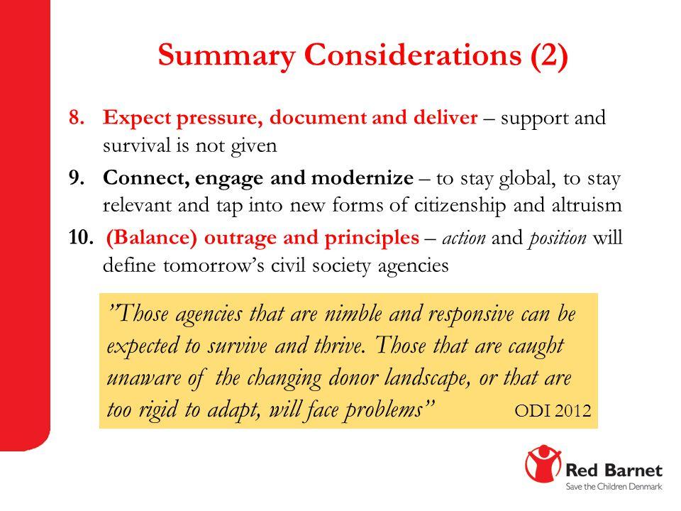 Summary Considerations (2)