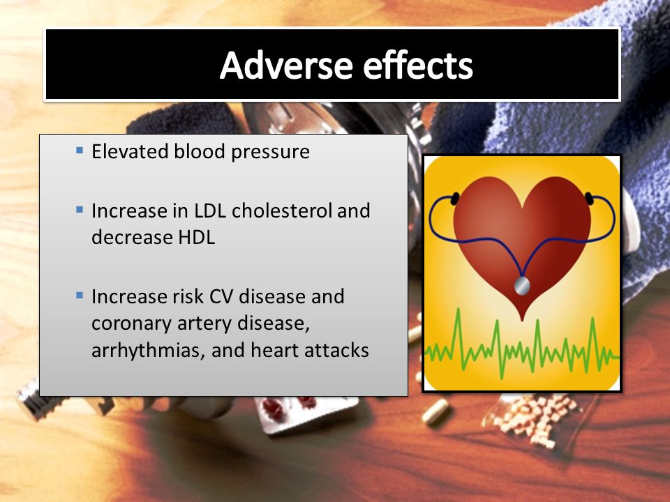 Adverse effects Elevated blood pressure