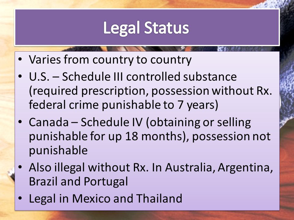 Legal Status Varies from country to country