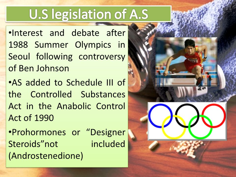 U.S legislation of A.S Interest and debate after 1988 Summer Olympics in Seoul following controversy of Ben Johnson.