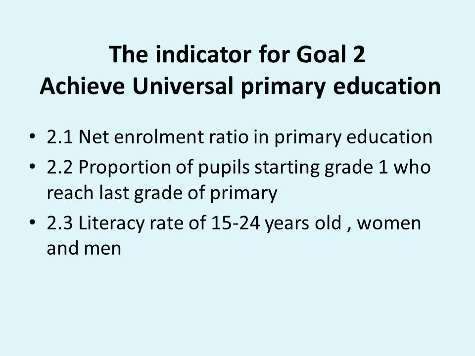 The indicator for Goal 2 Achieve Universal primary education
