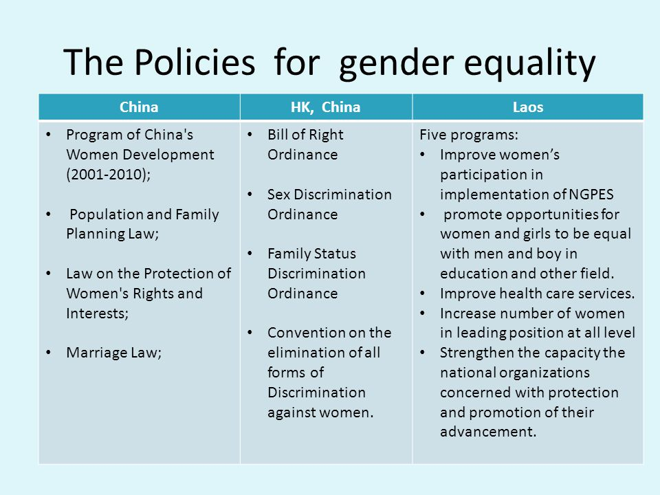 The Policies for gender equality