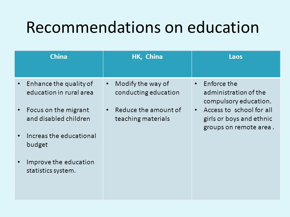 Recommendations on education