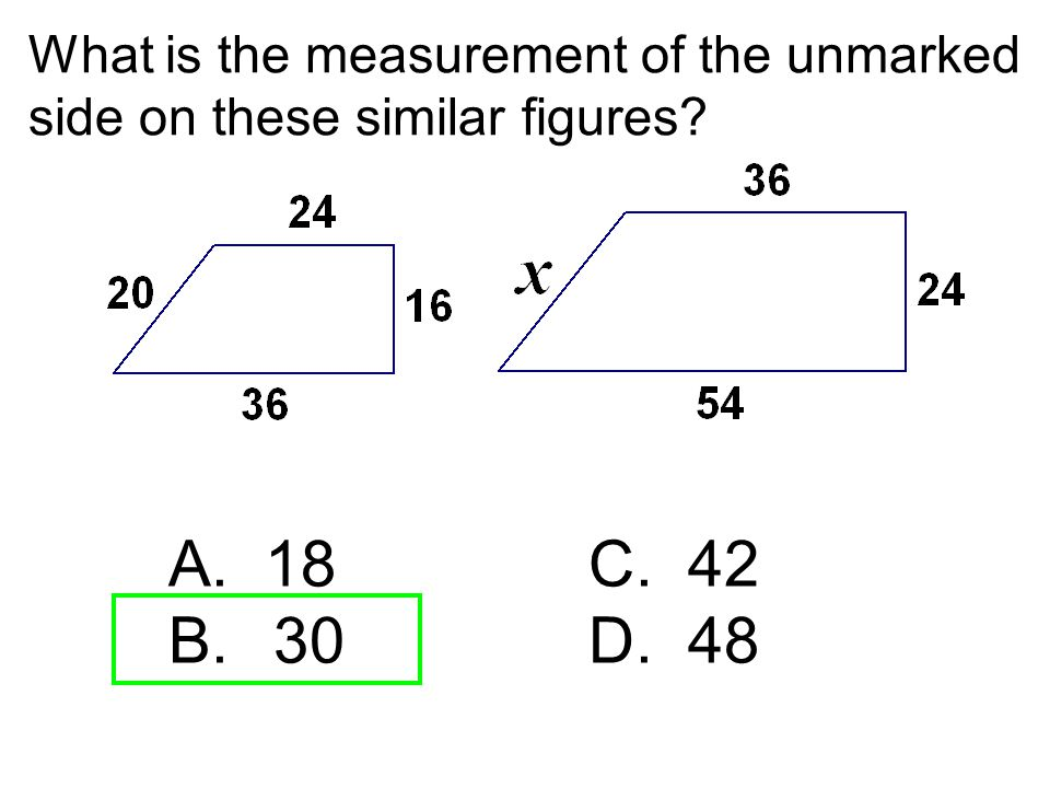 What is the measurement of the unmarked side on these similar figures