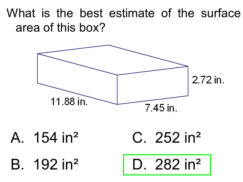 What is the best estimate of the surface area of this box