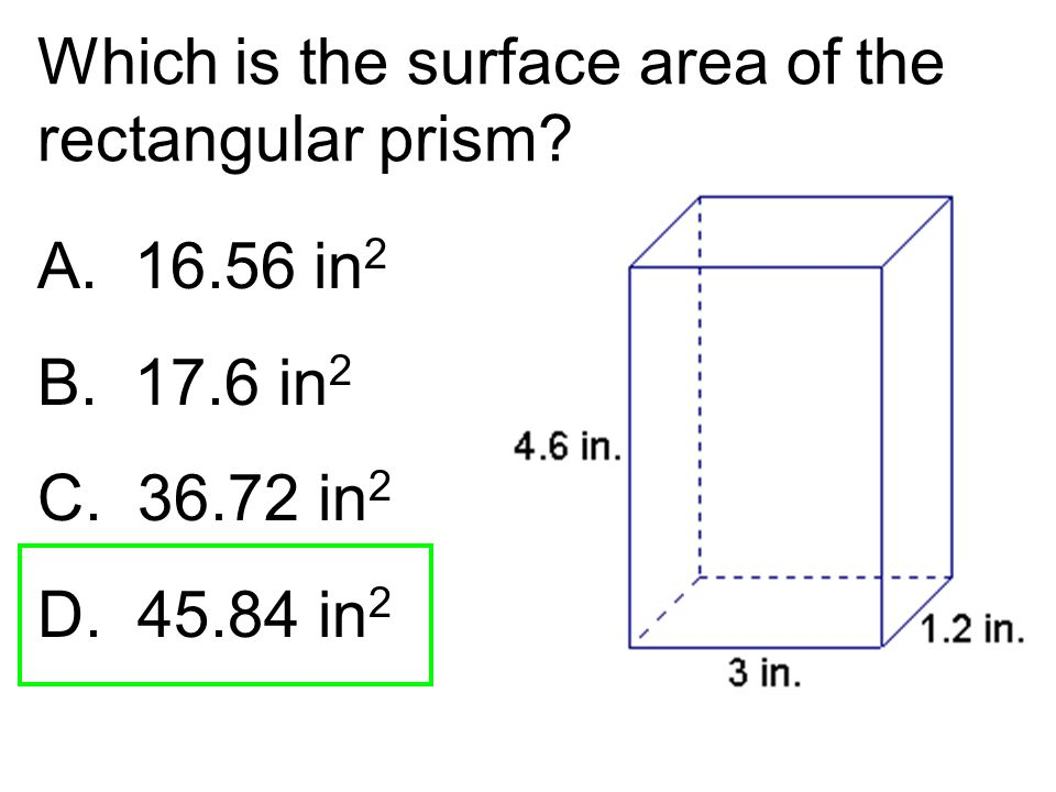 Which is the surface area of the rectangular prism