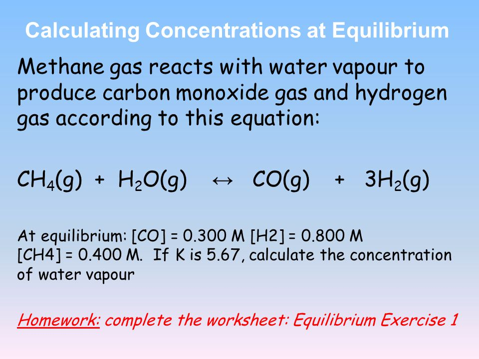 Calculating Concentrations at Equilibrium