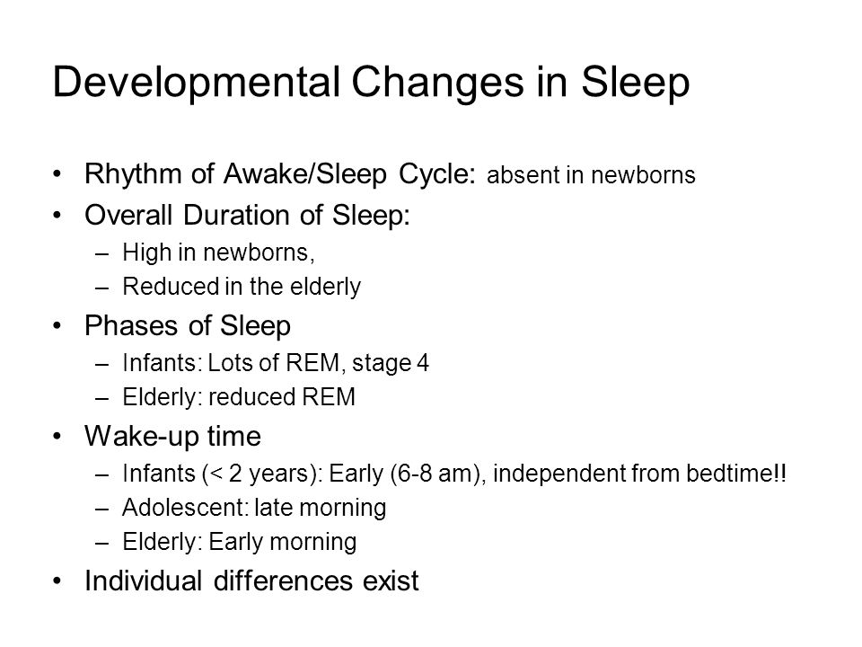 Developmental Changes in Sleep