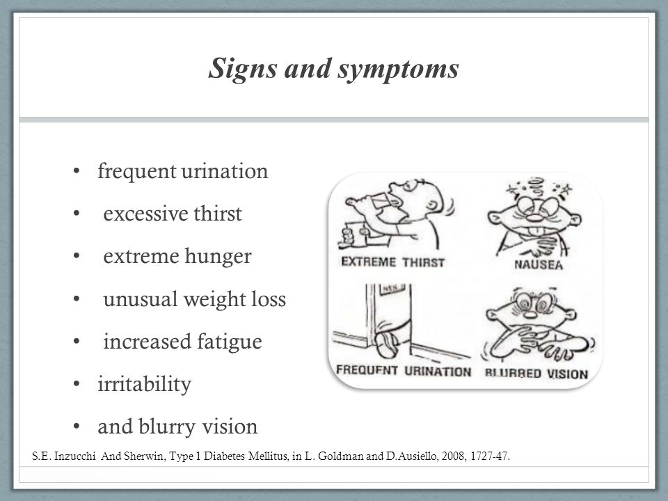 Signs and symptoms frequent urination excessive thirst extreme hunger