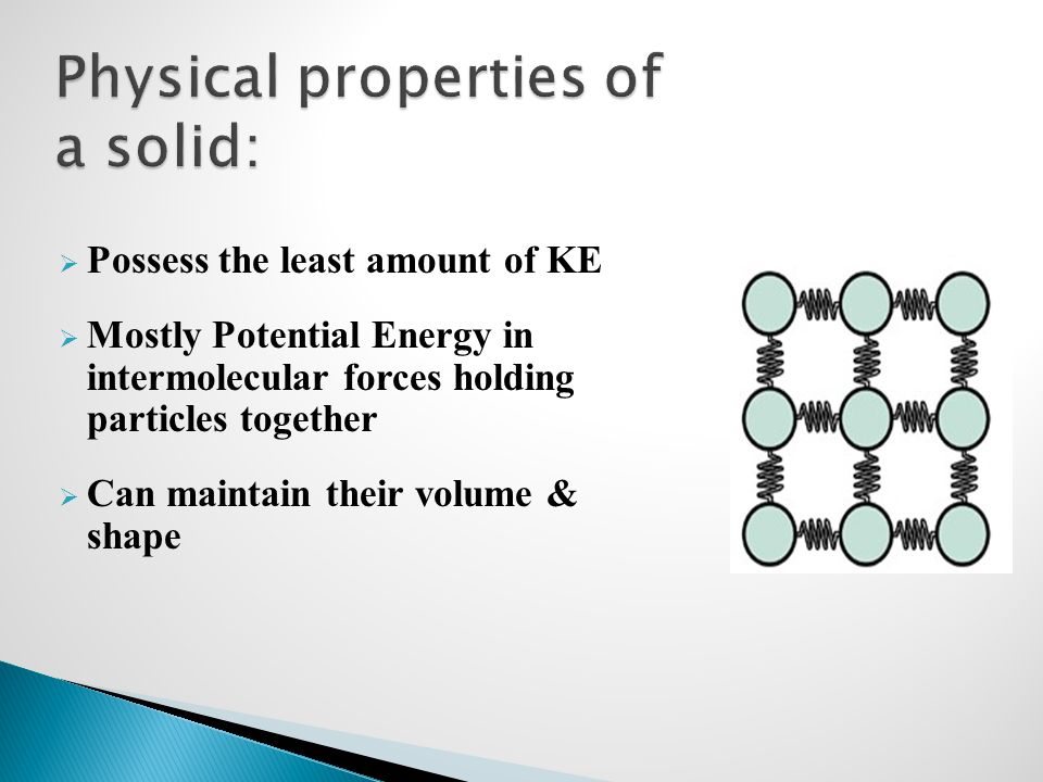 Physical properties of a solid: