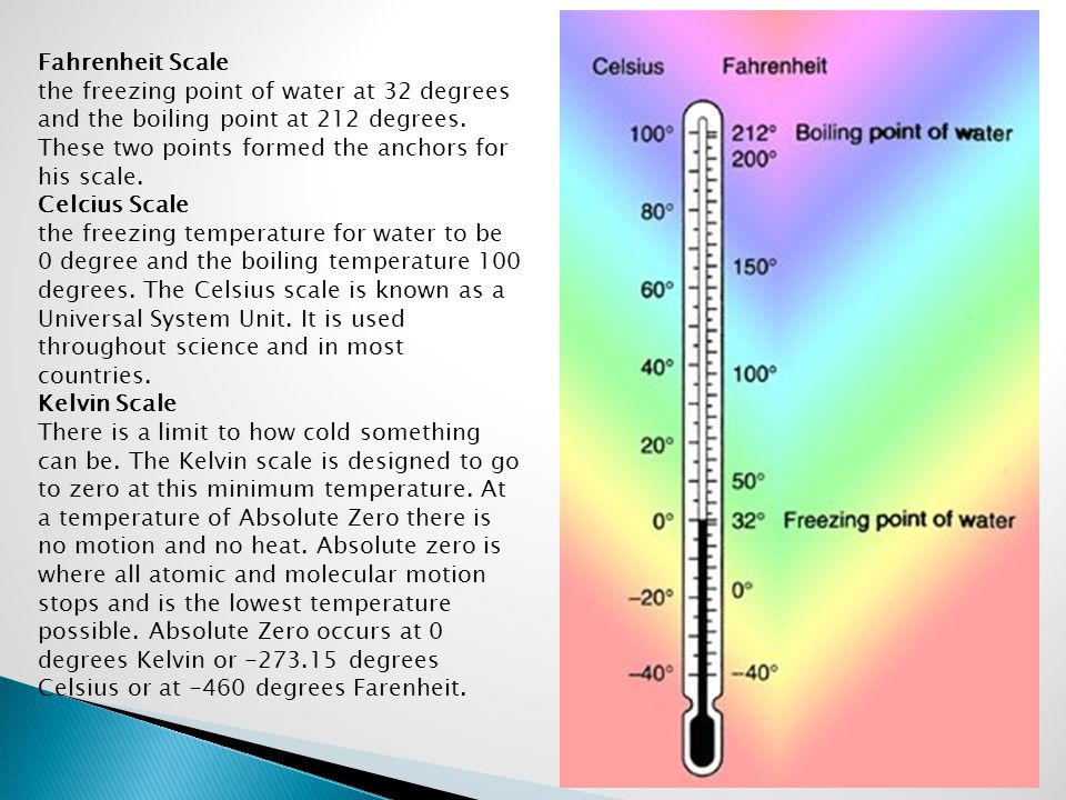 Fahrenheit Scale the freezing point of water at 32 degrees and the boiling point at 212 degrees. These two points formed the anchors for his scale.