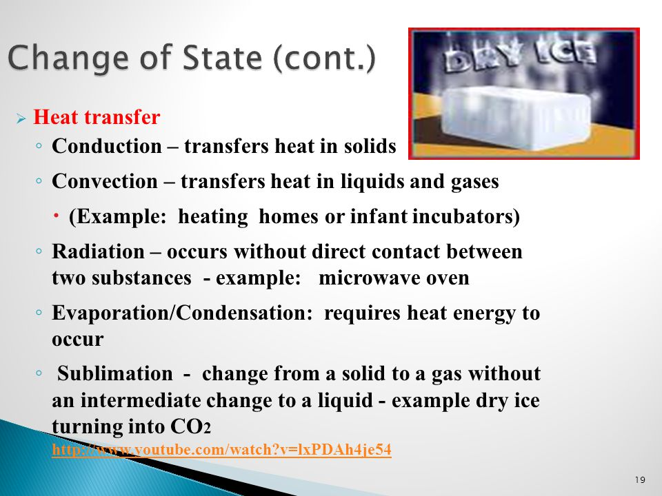 Change of State (cont.) Heat transfer