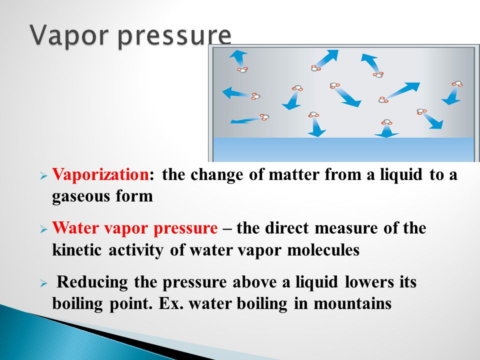 Vapor pressure Vaporization: the change of matter from a liquid to a gaseous form.