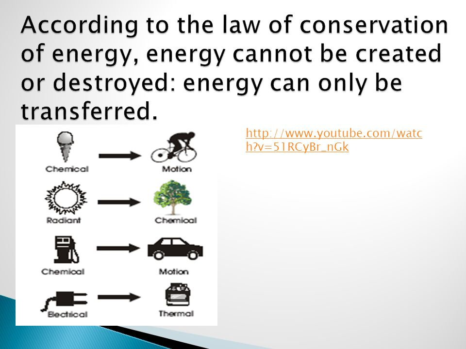 According to the law of conservation of energy, energy cannot be created or destroyed: energy can only be transferred.