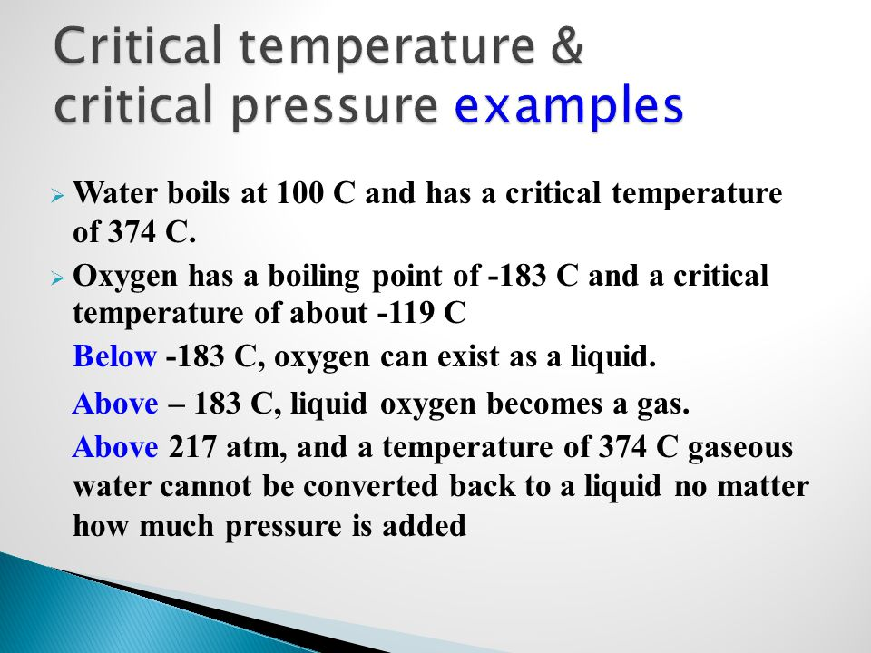 Critical temperature & critical pressure examples