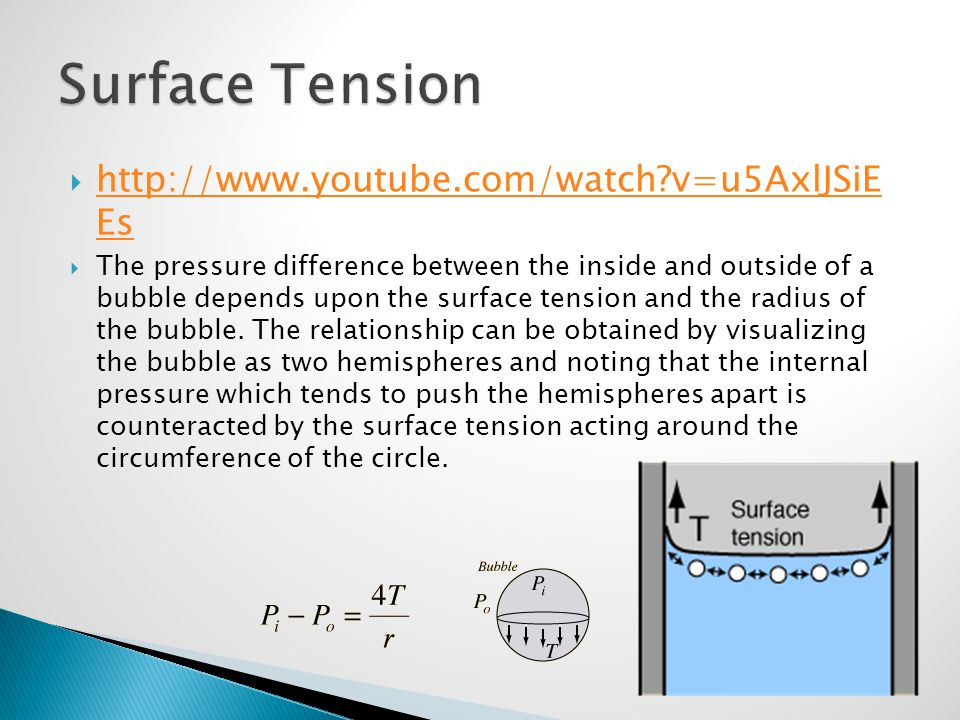 Surface Tension http://www.youtube.com/watch v=u5AxlJSiE Es