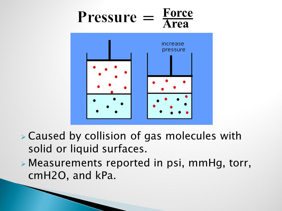 Pressure = Force. Area. Caused by collision of gas molecules with solid or liquid surfaces.
