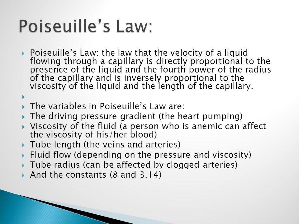 Poiseuille's Law: