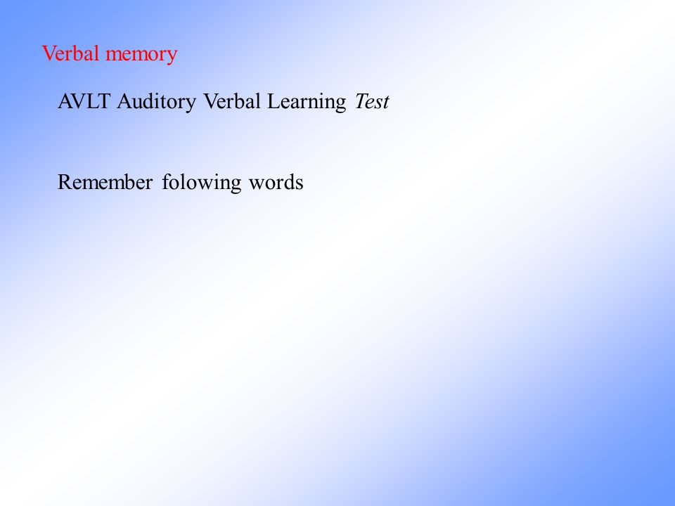 Verbal memory AVLT Auditory Verbal Learning Test Remember folowing words