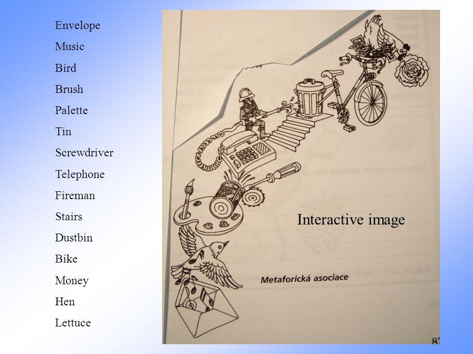 Interactive image Envelope Music Bird Brush Palette Tin Screwdriver