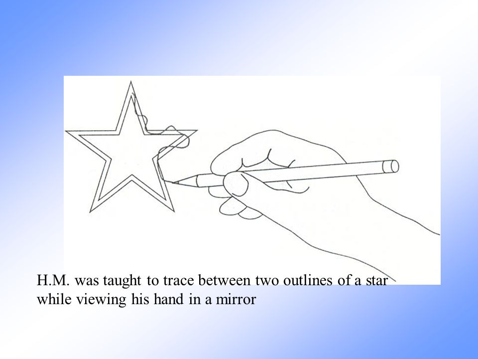 H.M. was taught to trace between two outlines of a star while viewing his hand in a mirror