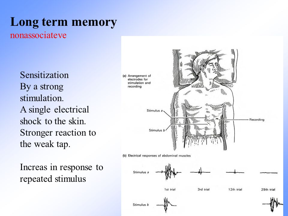 Long term memory nonassociateve Sensitization By a strong stimulation.