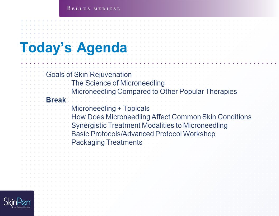 Today's Agenda Goals of Skin Rejuvenation The Science of Microneedling