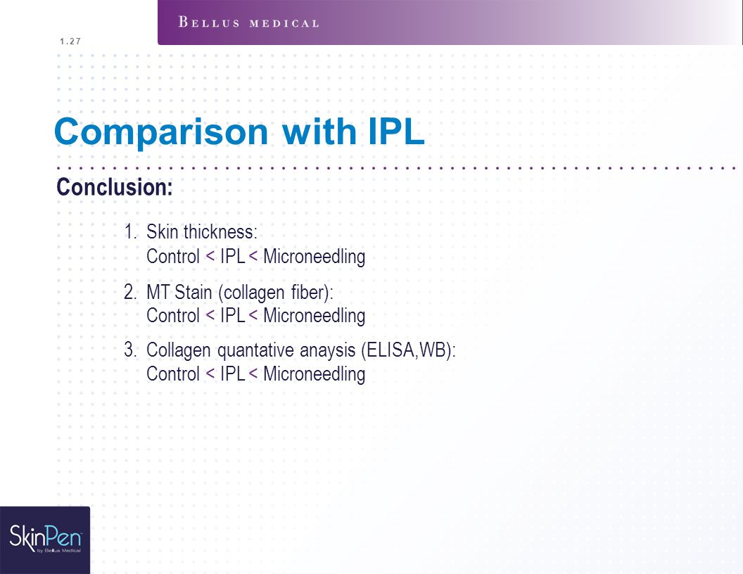 Comparison with IPL Conclusion: Skin thickness:
