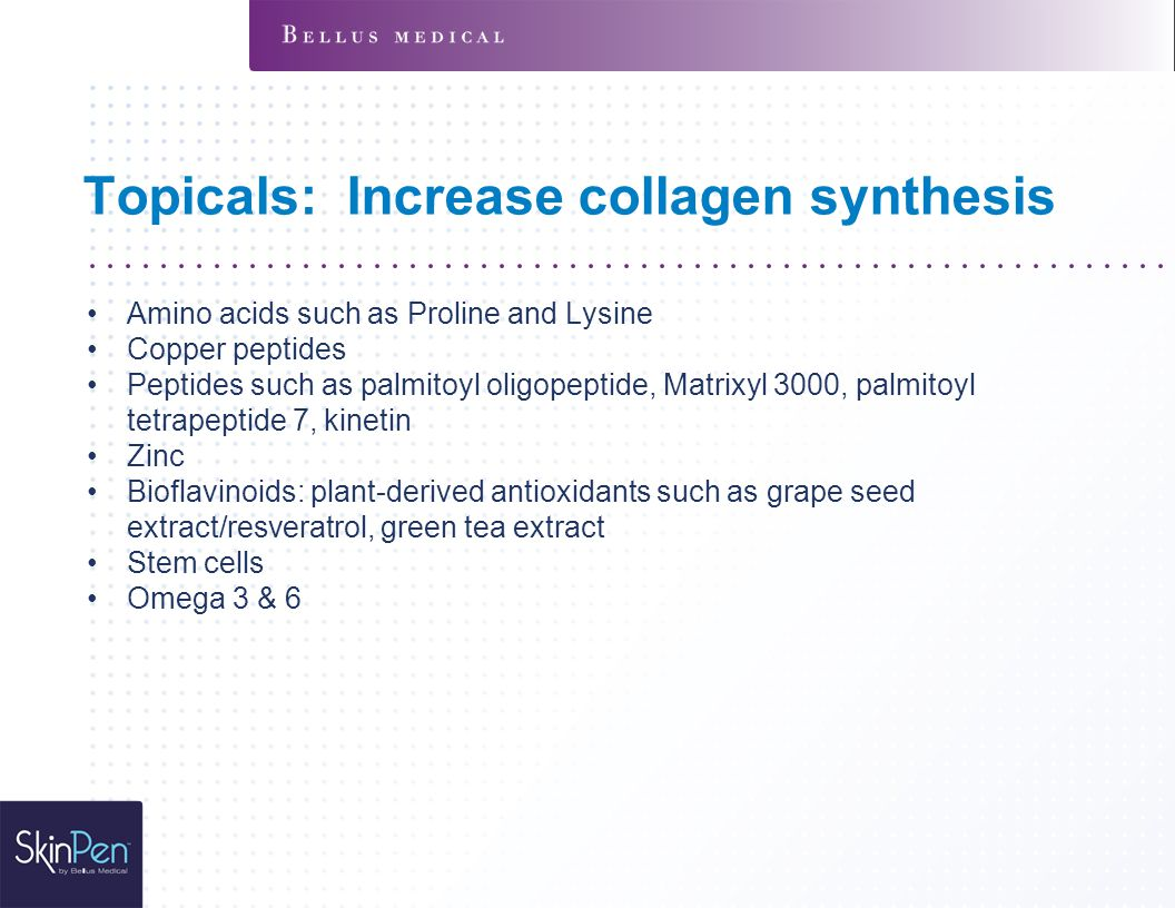 Topicals: Increase collagen synthesis