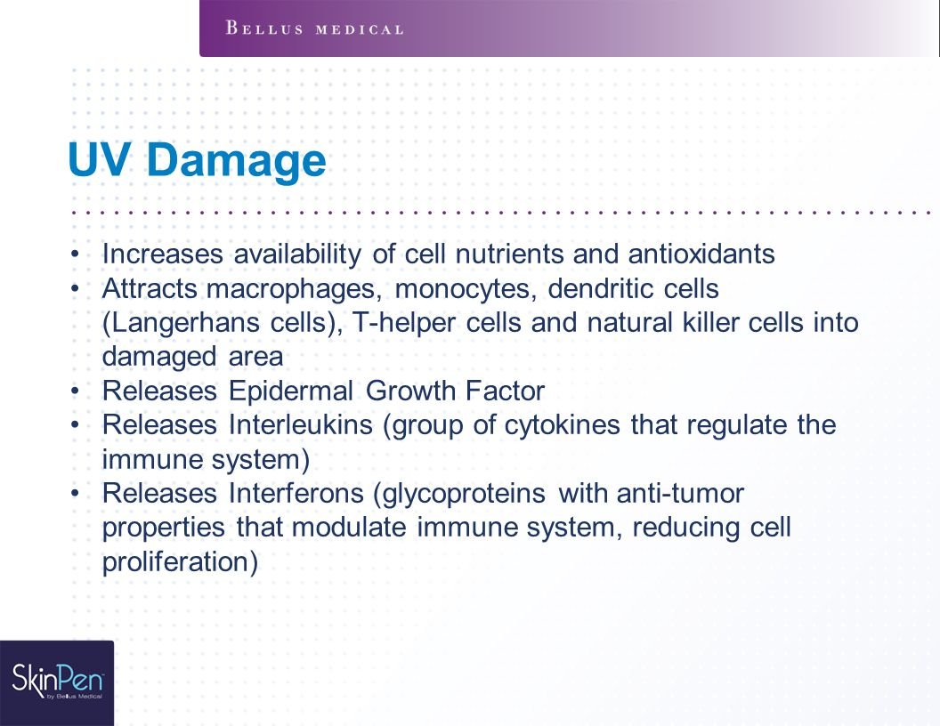 UV Damage Increases availability of cell nutrients and antioxidants