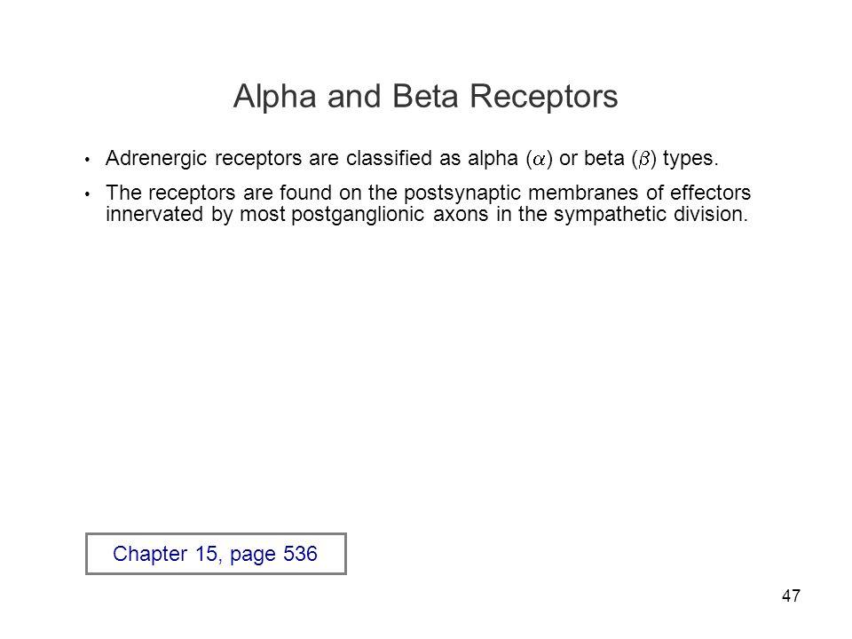 Alpha and Beta Receptors