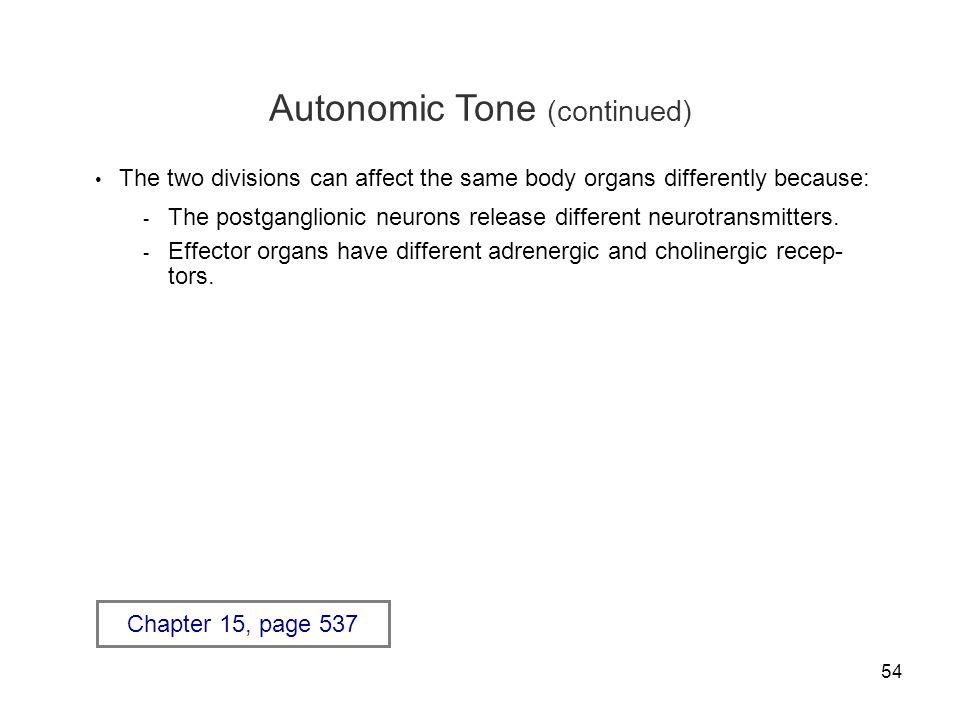 Autonomic Tone (continued)