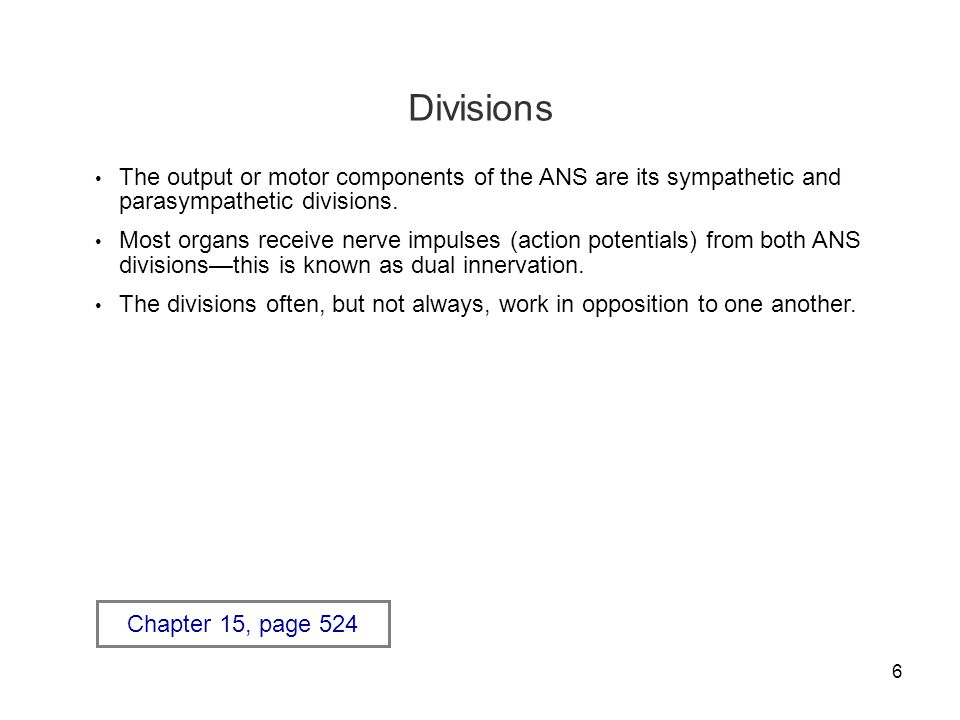 Divisions The output or motor components of the ANS are its sympathetic and parasympathetic divisions.