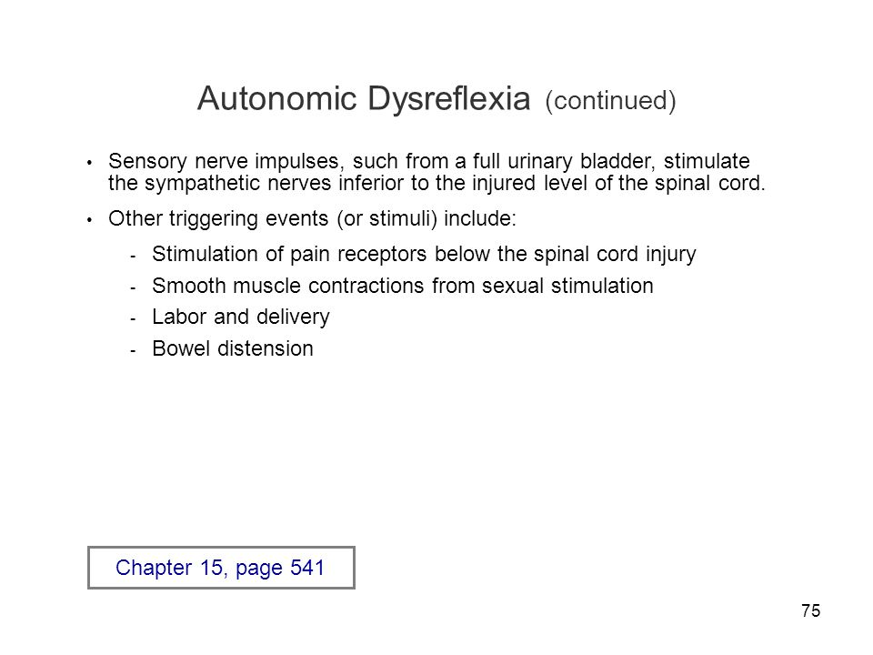 Autonomic Dysreflexia (continued)