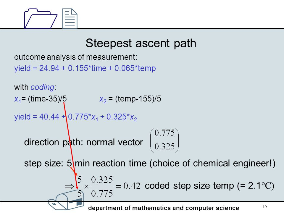 Steepest ascent path direction path: normal vector