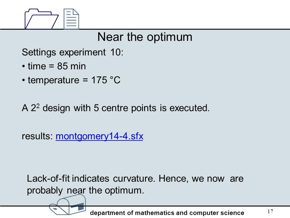 Near the optimum Settings experiment 10: time = 85 min
