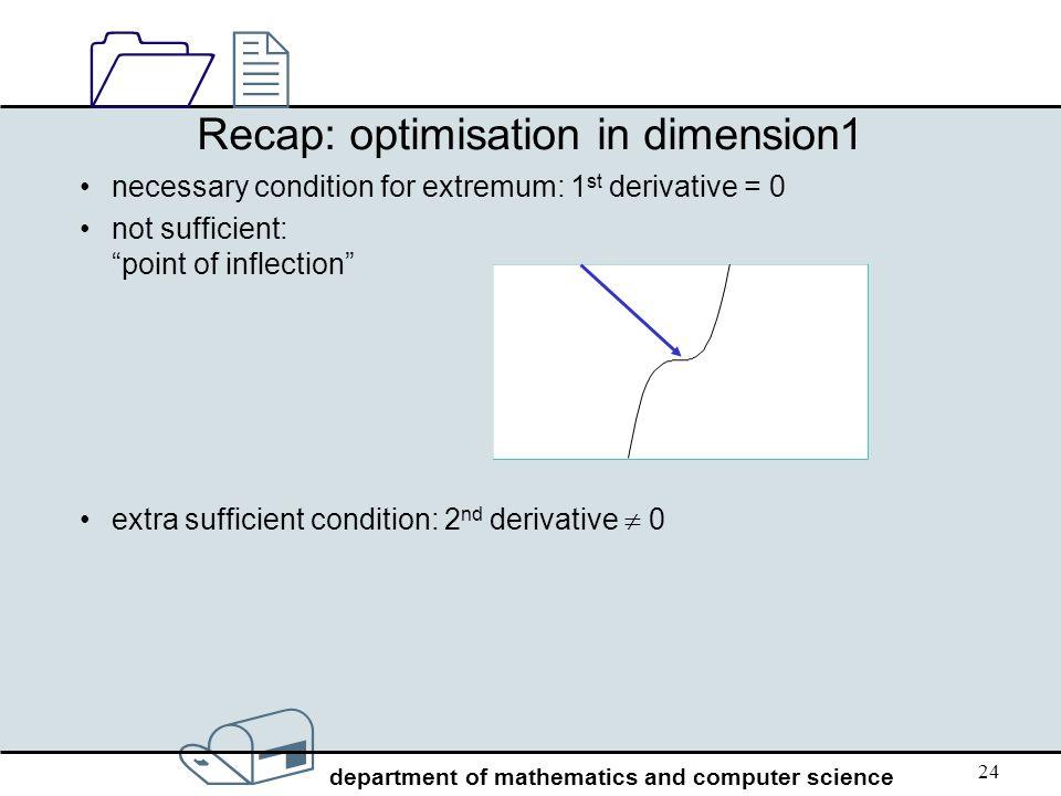 Recap: optimisation in dimension1